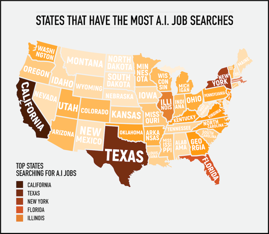 Map of the USA showing the states with the most A.I. Job searches